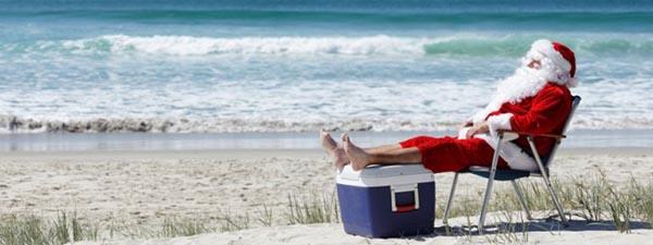 christmas july santa on beach
