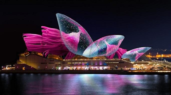 Màng trình diễn nghệ thuật ở lễ hội ánh sáng tại nhà hát Opera Sydney